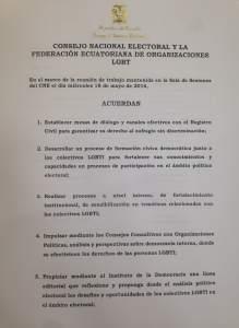 Acuerdo entre el Consejo Nacional Electoral del Ecuador y la Federacion ecuatoriana de organizaciones LGBTI 2016 ambito politico