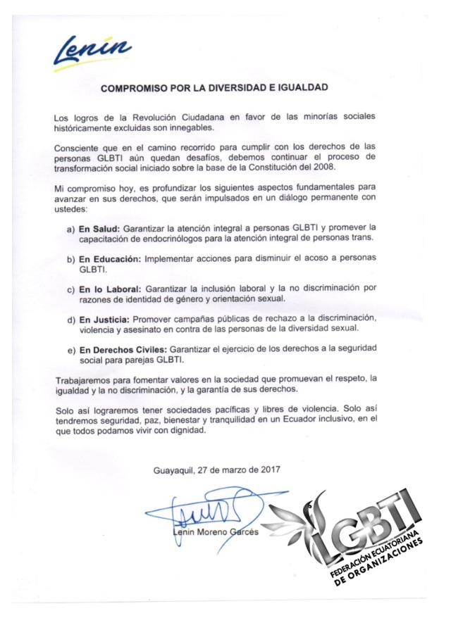 Compromiso entre Lenin Moreno y Federación Ecuatoriana de Organizaciones LGBTI
