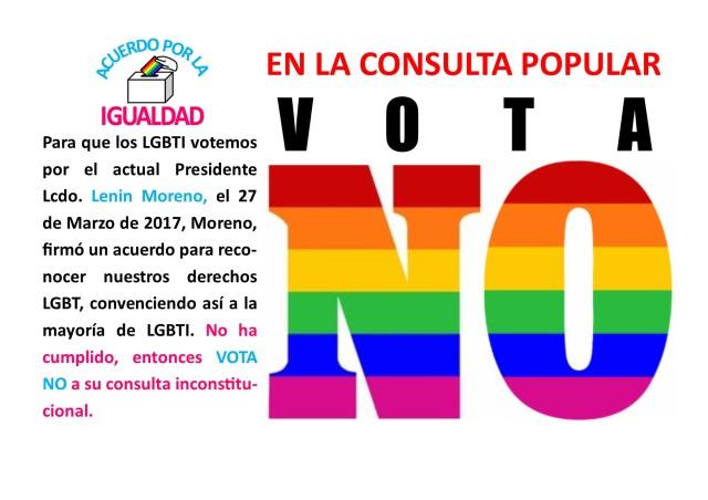 Lenin Moreno no cumplió con los LGBTI, vota NO en la consulta popular inconstitucional