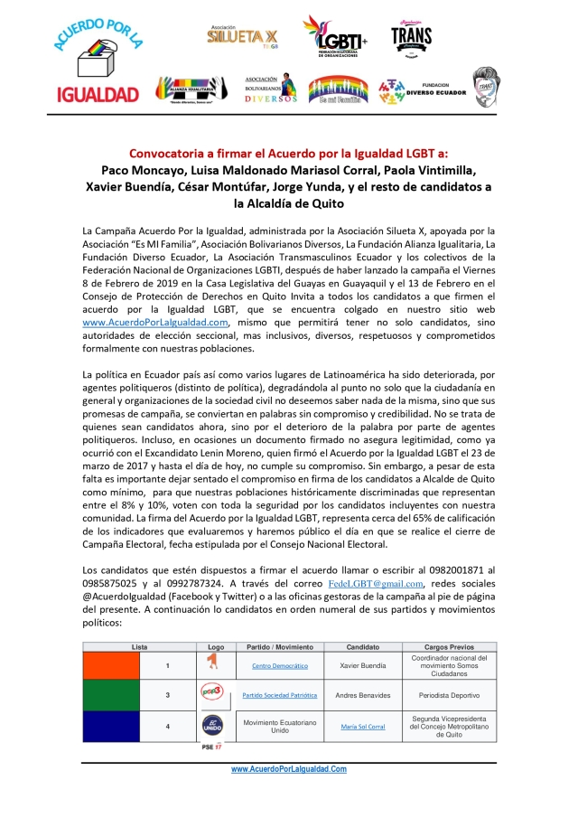 1 Boletin de Prensa - Convocatoria a Firmar el Acuerdo por la Igualdad a Paco Moncayo Luisa Maldonado Mariasol Corral Paola Vintimilla 0