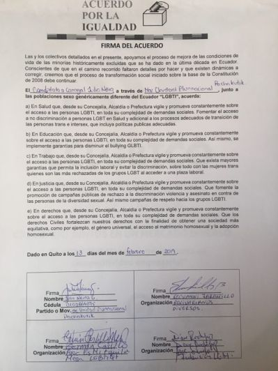 Concejal a Pachacutik Juio Neira firmó el acuerdo por la Igualdad LGBT (2)