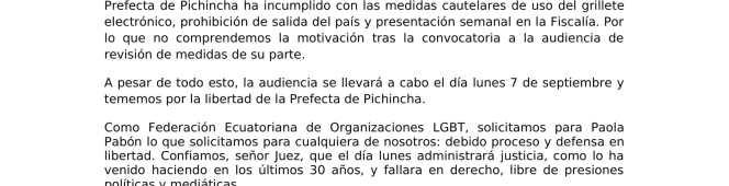 Carta de apoyo a la Prefecta Paola Pabón ante evidente persecusiónpolítica