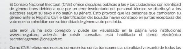 CNE se disculpa con la población trans y asigna junta de acuerdo a sugénero
