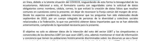 Boletín de Prensa – Apertura y convocatoria a llenar la Encuesta de intención del VOTOLGBT